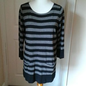 Loft Grey & Black Striped Tunic Sweater NWT Large